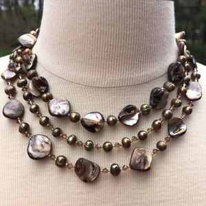 Jewelry - Handmade 3 strand brown shell necklace
